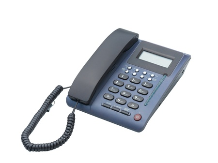 landlines: The office telephone for communications isolated on white  Stock Photo