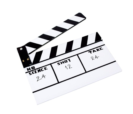 old time: Slate clapboard for scene or movie shoot  isolated on white
