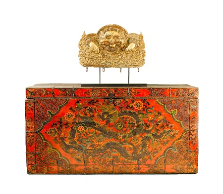 The tibet fine art box to keep the scriptures or books about buddhism religion Stock Photo - 17584743