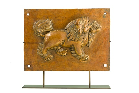 The ancient sculpture of the lion, the animal from faith in Tibet Stock Photo - 17584742