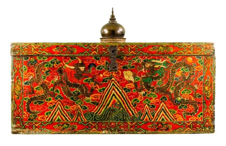 The tibet fine art box to keep the scriptures or books about buddhism isolated Stock Photo - 17584754
