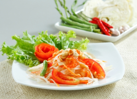 Thai papaya salad a tasty of Thai food menu Stock Photo - 17584741