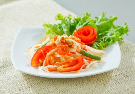 colorful papaya salad Thai food style hot and spcicy Stock Photo - 17584744