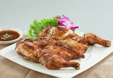 chicken grill: Grilled chicken Thai asian food style on dish