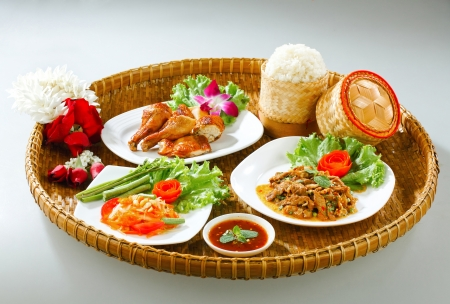 Full tray serves with northeast region Thai food photo