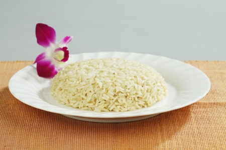 Thai brown rice good for your health on dish Stock Photo - 17584745