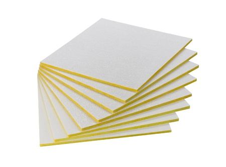 glasswool: sheets ceiling insulator type for heat protection isolated on white