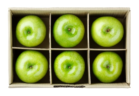 6 apple in the box ready for delivery isolated on white  Stock Photo - 17584735