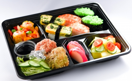 Bento lunchbox Japanese style quick meal that plenty of good nutrition isolated  photo