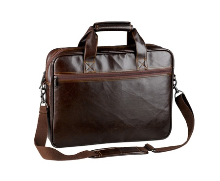 Nice and useful briefcase or computer bag made of genuine cow leather isolated  photo