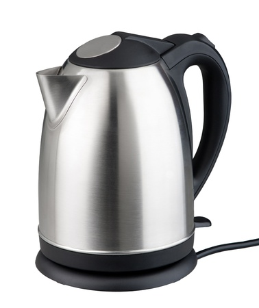 electric kettle: Nice modern design of kettle water boiler isolated on white