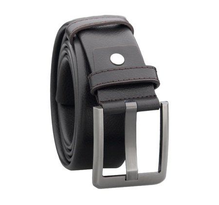 Smart man leather belt on white  photo