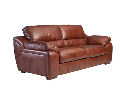 Nice comfortable and luxury leather sofa isolated  Stock Photo - 17846938
