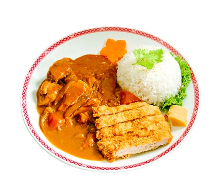 beef curry: Japanese beef curry with fried pork and rice isolated