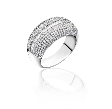 Diamonds ring on white gold body shape the most luxurious gift isolated  photo