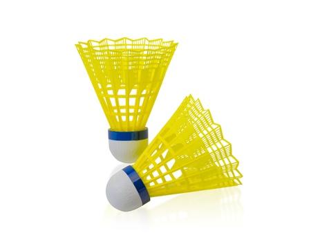 sporting goods: B�dminton Shuttlecock Sporting bienes bal�n aislado en blanco Foto de archivo