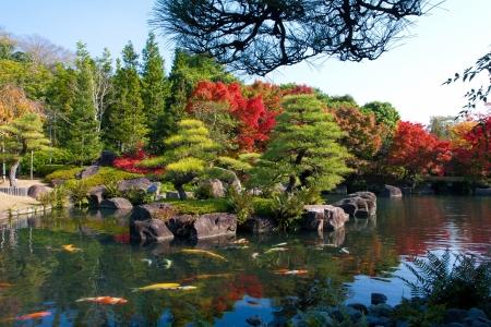 Colorful autumn at the Koko-en outdoor park Osaka Japan