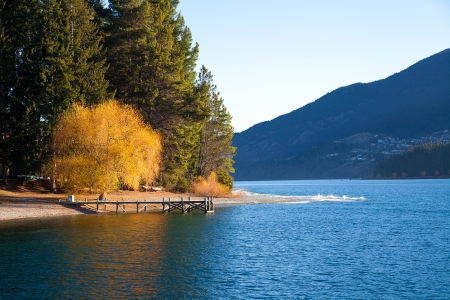 Beautiful scenery autumn at the Wakatipu lake Queenstown Southern island New Zealand  photo