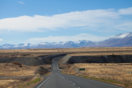 Route view to Tekapo town with Souther Alaps valleys background New Zealand  photo