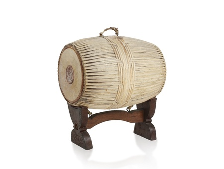 Old fashioned Thai Tapon percussion drums the thai music instrument isolated Stock Photo - 18031041