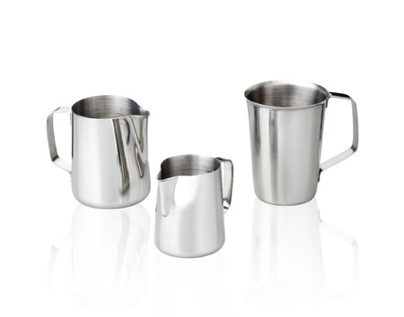 capacitance: Aluminum silver measuring cups isolated on white