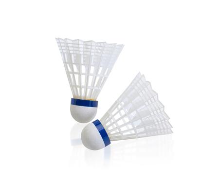 sporting goods: B�dminton Shuttlecock Sporting bienes bola aislado sobre fondo blanco Foto de archivo