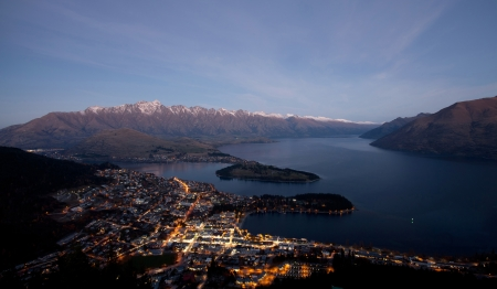 Beautiful evening light scenery of the Queenstown bay Wakatipu lake Queenstown city New Zealand  photo