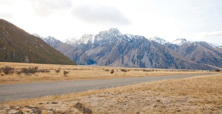 Beautiful scenery of Aoraki Mt Cook valleys in the morning time Southern Alps mountains South island New Zealand  photo