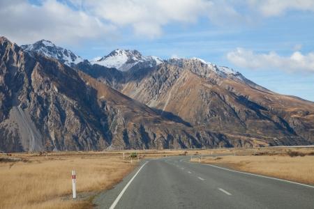Road to Tasman valleys Aoraki Mount Cook National park Southern Alps mountain valleys New Zealand photo