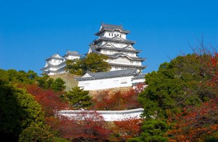 honshu: On sunny day along pathway at Himeji castle in Osaka, Japan