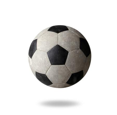 sporting goods: F�tbol Old las mercanc�as que se divierten en el fondo blanco Foto de archivo
