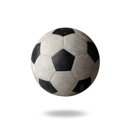 sporting goods: Old football the sporting goods on white background