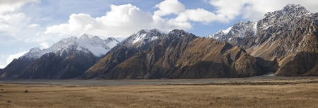 Beautiful panoramic view of the Mt Cook Sefton and Tasman valleys in early autumn in New Zealand photo