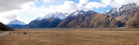 Beautiful scenics of mount Tasman valleys Aoraki Mt Cook national park Southern Alps mountain South Island New Zealand  photo