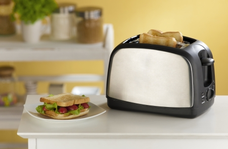 Cute and modern design of the bread toaster great for modern kitchen  photo