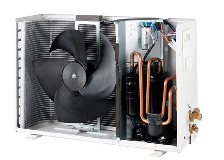 aire acondicionado: La secci�n transversal para ver el interior de la unidad condensador de aire condici�n