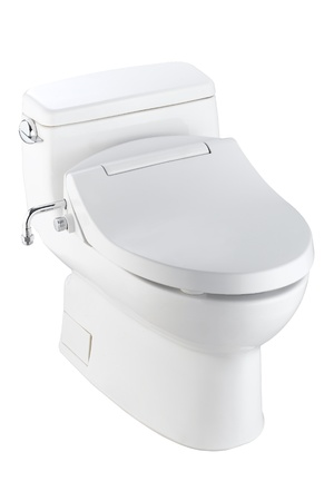 The toilet bowl must be great design and useful automatic function  Stock Photo - 18208267