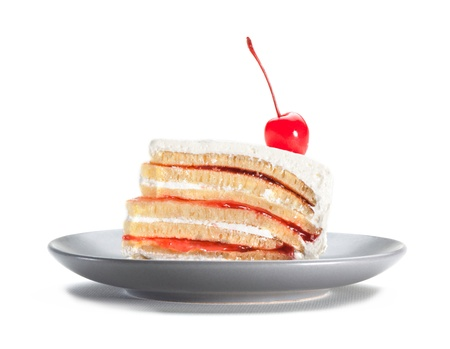 cake topping: Strawberry cake topping with cherry isolated on white background