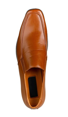 mens shoes: Nice looking mens shoe invertical isolated on white