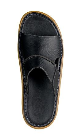 foot ware: Black men sandal isolated on white in vertical