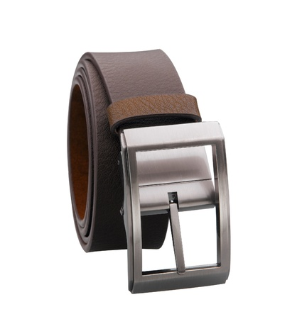 Men leather belt roll on white background  photo