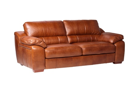 brown leather sofa: Nice luxury design of genuine leather sofa bench isolated on white
