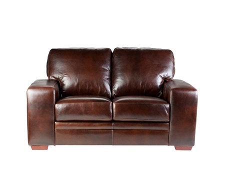 silla de madera: Niza dise�o c�modo y de lujo de banco de cuero aislado en blanco
