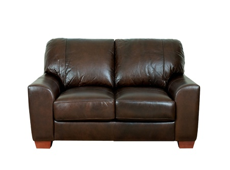Great looking and luxurious of the dark brown leather bench isolated Stock Photo - 18208459