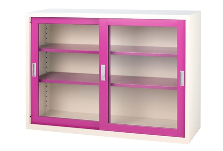 You could putting ideas and imagination by put the stuffs or other things into this violet cabinet photo