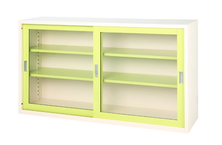 Transparent cabinet in bright green color suitable all offices photo