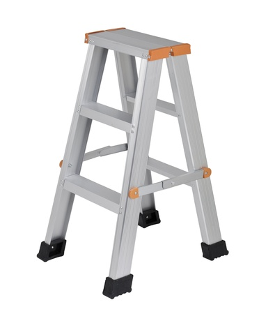 step ladder: Aluminum ladder useful for your housework isolates on white