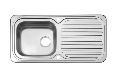 kitchen sink: Nice design of chrome sink dish cleaner isolated