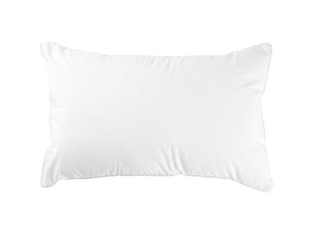 lit: Oreiller moelleux et d'hygi�ne id�al pour votre chambre � coucher isol�e sur fond blanc Banque d'images
