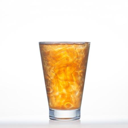 ice lemon tea: Lemon tea Thai drinks style with ice in glass isolated on white background